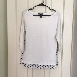 White House Black Market White Polka Dot Tee